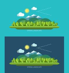 spring nature landscape in flat design style vector image