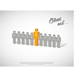 stand out with human icons in row vector image
