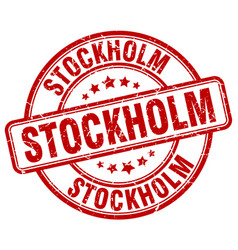 Stockholm red grunge round vintage rubber stamp vector