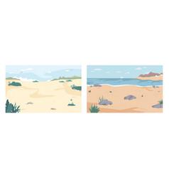 summer beach set seashore seaside coastlines set vector image