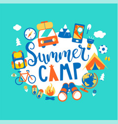 Summer camp concept with handdrawn lettering vector