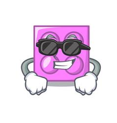 Super cool toy brick character cartoon vector
