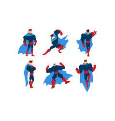 Superman character set comic superhero in vector