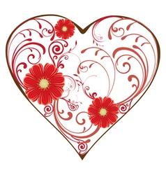 swirl heart red vector image