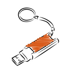 usb flash drive template outline style icon vector image