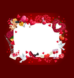 valentines day frame cupid flowers and hearts vector image