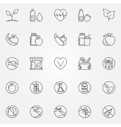 Vegetarian line icons set vector