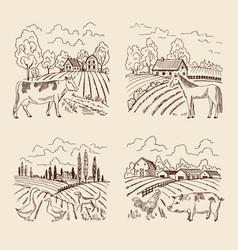 Village and big field landscape vector