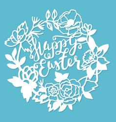 vintage paper cut garden flowers wreath frame vector image
