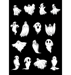 White Halloween ghosts vector