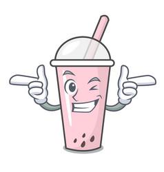 Wink raspberry bubble tea character cartoon vector