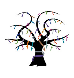 Wish tree with colorful ribbons vector