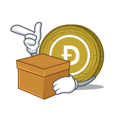 with box dogecoin character cartoon style vector image