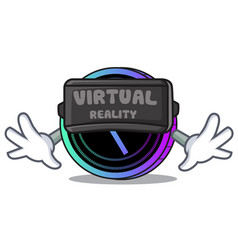With vitual reality request network coin mascot vector