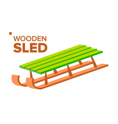 wooden sled retro classic winter sledge vector image
