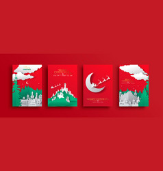 year paper cut santa claus card set vector image