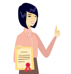 young asian business woman holding a certificate vector image