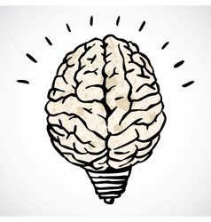 Brain and lamp concept in doodle style vector image vector image