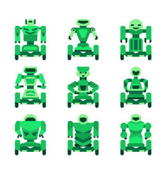 green robots on wheels icons set vector image