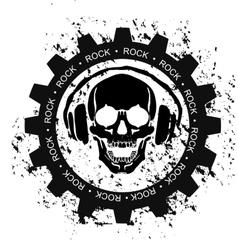 Rock skull headphones vector
