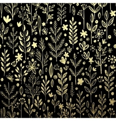 Seamless pattern with gold leaf and grass vector image