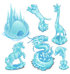 set of ice figurines of wild and fantastic animals vector image vector image