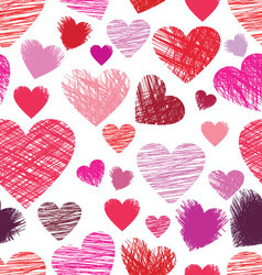 sketchy hearts seamless vector image