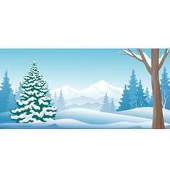 Winter day panoramic vector image vector image