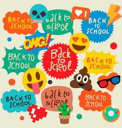 back to school speech bubbles stickers emoji vector image vector image