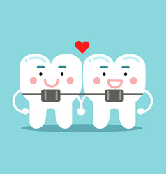 Cute smiling cartoon teeth characters with vector