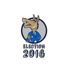 Election 2016 Democrat Donkey Mascot Circle vector image