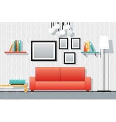 House Interior Living Room Furniture Icons Set vector image