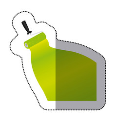 sticker paint roller with stroke of paint green vector image vector image