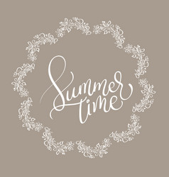 summer time text in vingage round frame on brown vector image