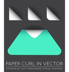 Triangle with Paper Curl with Shadow Isolated Set vector image