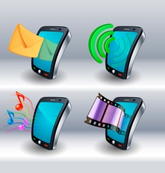 mobile phone icons vector image vector image