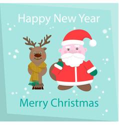 new year and happy christmas card santa claus and vector image vector image