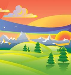 scenic sunset landscape vector illustration vector image vector image