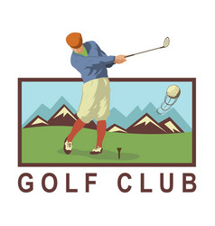 vintage golf poster with a golf player vector image vector image