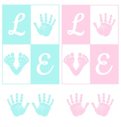 baby hand print and footprint vector image
