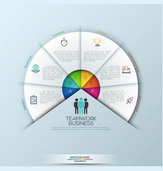 circular infographic design template with 6 vector image vector image