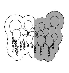 contour colored party balloon with serpentine icon vector image
