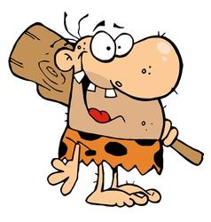 Happy caveman with club vector