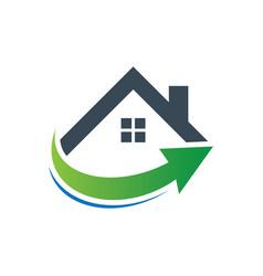 home business arrow contruction logo vector image