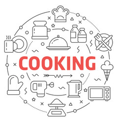 line flat circle cooking vector image vector image