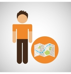 male character traveler map location vector image vector image