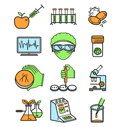science and genetic laboratory icons set vector image