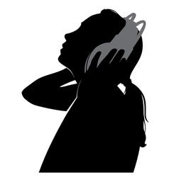 silhouette girl in headphones vector image