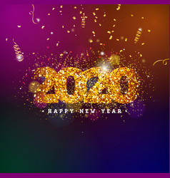 2020 happy new year with shiny number vector image