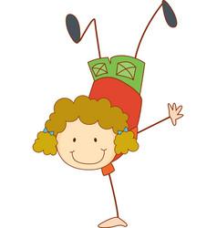 a doodle kid performing break dance cartoon vector image